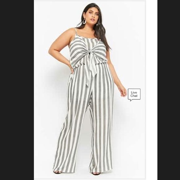 e173503db Forever 21 Pants | Plus Size Striped Tiefront Jumpsuit | Poshmark